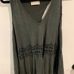 Green Tank with Lace Cut-outs